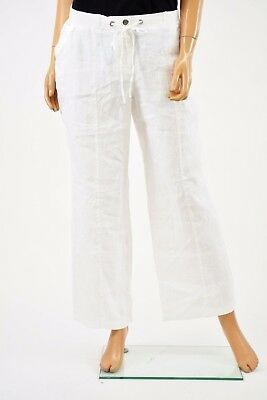 New JM Collection Women Linen White Solid Drawstring Pull-On Casual Pant Size 8