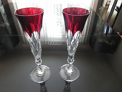 NIB Signed Faberge Anna Champagne Flutes Ruby Red Glasses Set of 2