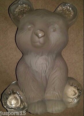Vintage Viking Heavy Crystal Frosted Sitting Bear