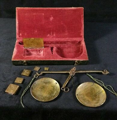 Antique Asian Apothecary Or Opium Scale & Five Original Weights In Original Box