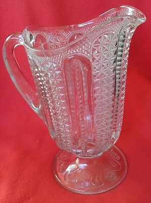 Beautiful Antique Eapg Early American Press Glass Pitcher Pattern Glass