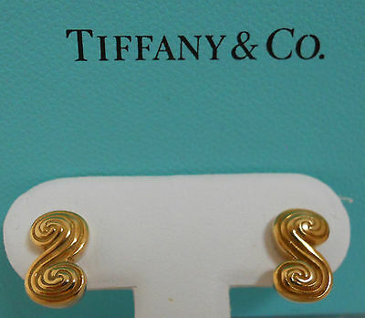 AUTHENTIC VINTAGE TIFFANY & Co 18k Yellow Gold Swirl Post Earrings #15134