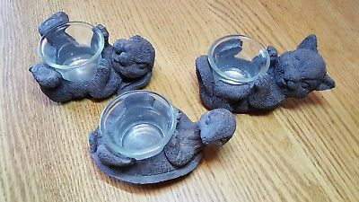 Lot of three animal resin tea light candle holders cute bunny kitty and turtle