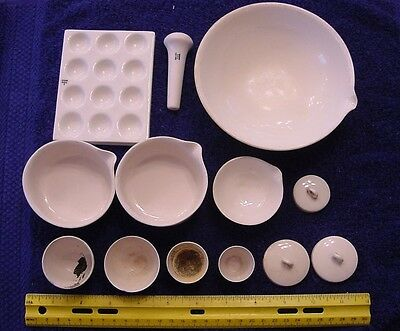 Coors Pottery - Lot Of 13 Pieces For Laboratory Or Pharmacy Mortar Pestle Bowls