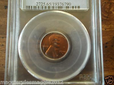 1944-D Wheat Cent Lincoln Penny PCGS MS65 Red!   Lot # USA023
