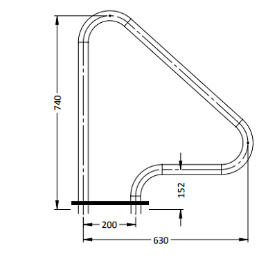 G1 Standard Grab Rails (SINGLE) Stainless Steel Hand Rail For Swimming Pools