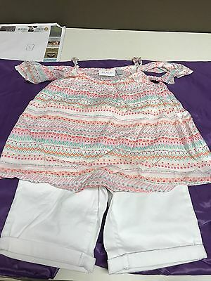 NWT The Childrens Place girls cold shoulder top and short outfit size 7/8