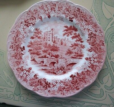 J G Meakin Haddon Hall Romantic England Red Pink Dinner Plate 10in