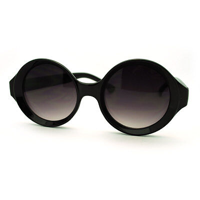 Unique Carved in Circle Round Frame Sunglasses Womens Fashion Black