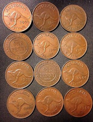 Old Australia Coin Lot - 1920-1953 - Large Pennies - 12 Great Coins - Lot #720