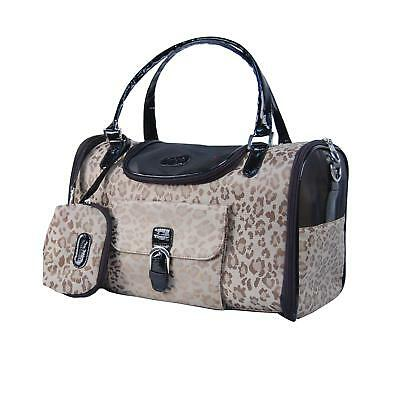 Leopard Print Travel Pet Carrier Bag Purse With Pockets For Dogs Cats Animals