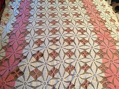 ANTIQUE VINTAGE HANDMADE PINK WHITE BEDSPREAD COVERLET CROCHET BED COVER 90x112