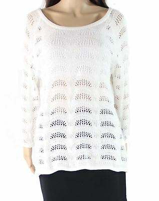 NY Collection NEW White Womens Size XL Boat Neck Open-Knit Sweater $50 083