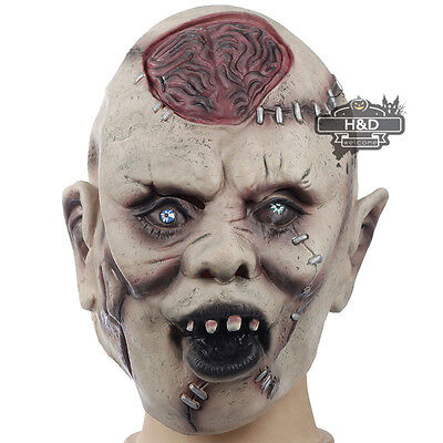 Latex Scary Skeleton Head Devil Mask Cosplay Halloween Party Costume Dress Prop