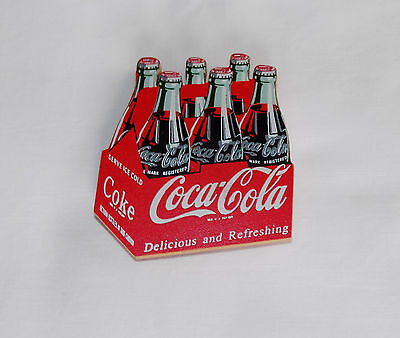 "New Coca Cola Company Six Pack Coke Bottles Wood Refrigerator Magnet 3"" Tall"