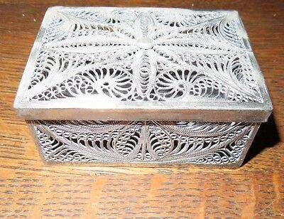 FILIGREE SILVER SNUFF BOX VINTAGE CHINESE EXPORT 134g TOTAL WEIGHT HAND MADE