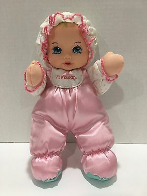Playskool Doll My Very Soft Baby Plush Lovey Pink Satin Squeaker Vintage 11""