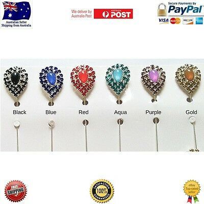 Crystal water drop Brooch Pin Stick Hijab Scarf hat Abaya Accessories Muslim