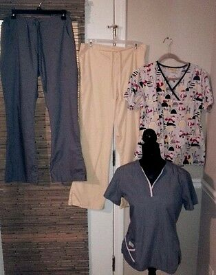 Womens S/M SCRUBS Lot Mix/Match Wonderwink Peaches Gray/FOX Wrap BootCut