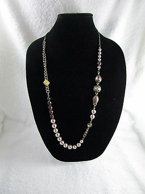 J Crew Natural Color Rhinestone Glass Faux Pearl  Antique Gold Metal Necklace