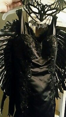 Costume Dark Angel Gothic Dress Mask Cosplay Club Rave Black Satin Halloween