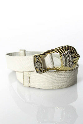Judith Leiber White Leather Animal Print Silver Crown Buckle Belt Size Small