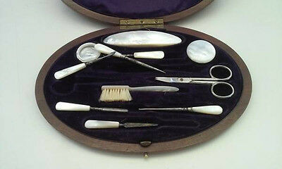 Antique Mother Of Pearl Grooming Kit In Burl Maple Case Beautiful!
