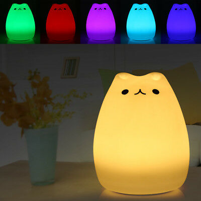 HQ Color Changing Silicone Cat Night Light Bedside Lamp 7 colors changeable