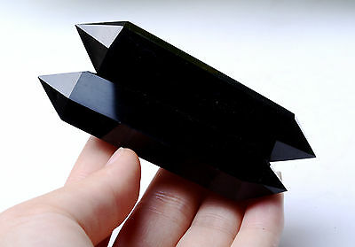 89g 2pcs Natural Obsidian Polished Crystal Double Point Healing