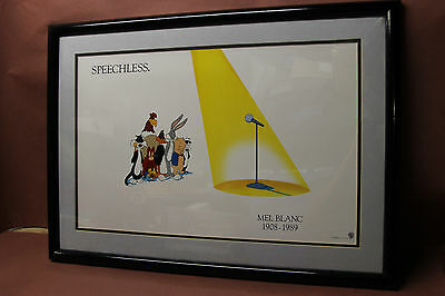 Mel Blanc SPEECHLESS 1908 - 1989 Warner Brothers Lithograph Looney Tunes 31 x 22
