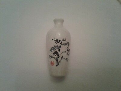 Old Chinese Porcelain Signed Snuff Bottle Decorative with Red Markings Look!