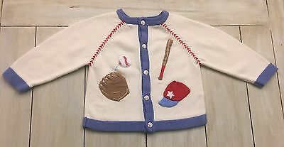 HARTSTRINGS Boys Ivory Blue Red Baseball Cardigan Sweater ~ 24 Months ~