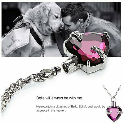 Heart Crystal Urn Necklace For Cremation Ashes Human Pet Memorial Ashes Keepsake
