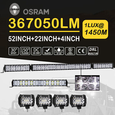 Curved 52inch 3654W LED Light Bar 4WD Driving Work Fog Lamp Combo SUV Offroad 50