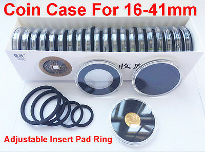 60x Coins Capsules Case Holder Portable Storage Box Container Display 16-41mm BK