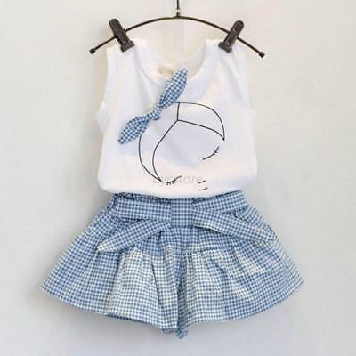 AU 2pcs Kids Baby Girls Summer Outfits White Girl Tank Shirt Tops+ Plaid Pants