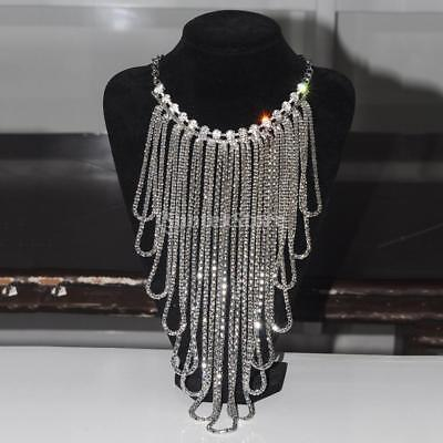 Women Metal Tassel Gold Silver Body Chains Harness Necklace Crystal Jewelry