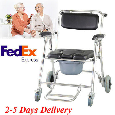 Portable Commode Wheelchair Bedside Toilet Chair Aluminum Frame Disability Aid