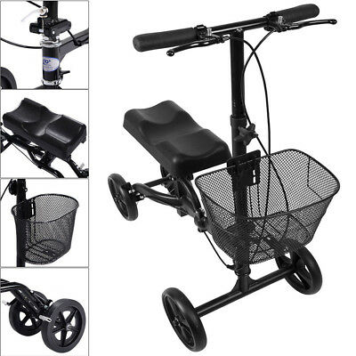 Walker Scooter Mechanism Knee Foldable Steerable Health Port Black AU