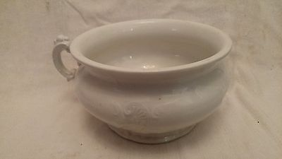 Vintage Glass, White Etruria, Mellor and Company, Chamber Pot, Floral Design