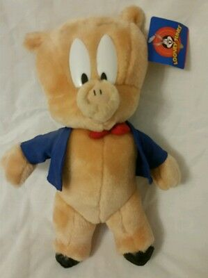 "10"" Plush Animal Toy Doll Pig Porky ACE Looney Tunes Warner Bros. 1997 P5"