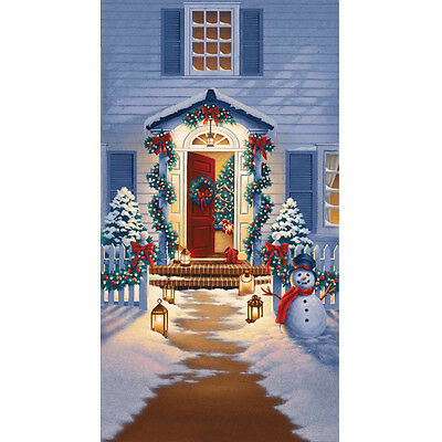 Good Tidings Home for the Holiday Christmas Fabric Panel Blue  RJR