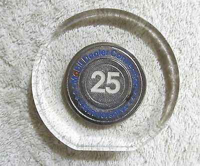 Mobil Dealer Convention 25 Year Anniversary Token in Clear Acrylic, Paperweight