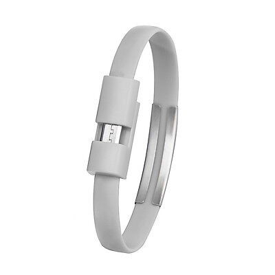 Wristband Micro USB Cable Charger Charging Data Sync For Cell Phone Gray*