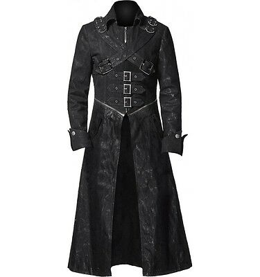New Style Steampunk Gothic Black Leather Trench Coat For Men - Free Wallet