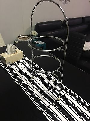 Round Display Stand, 3 Tier, Chrome Plated, High Tea / Cake / Platter / Catering