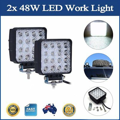 2x 48W LED Work Light Flood Square Driving Lamp Offroad Truck Jeep Lamp ATV SUV