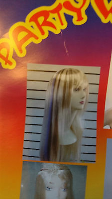 Party Wig Womens Straight Long -Light Blonde With Purple Streaks