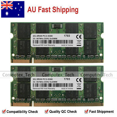 AU 4GB KIT 2x2GB PC2-5300 DDR2-667Mhz 200pin SODIMM Laptop Memory Module NON-ECC