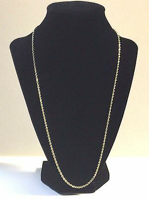 "14K SOLID YELLOW GOLD DIAMOND CUT 24"" ROPE CHAIN NECKLACE 12g Approx. 2 mm"